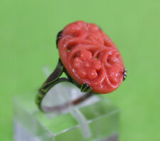 ANTIQUE CHINESE SILVER OVAL CARVED CORAL FLORAL MOTIF Sz7.5 WOMEN'S RING - 3.0gr