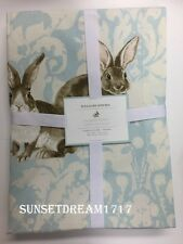 "Williams Sonoma Spring Damask Bunny Rabbit Tablecloth 70""x108"""