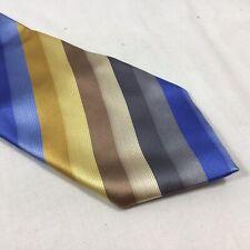 "Quality BCBG Attitude Blue Tan Yellow Gold Grey Stripe 100% Silk Necktie 58-60"""