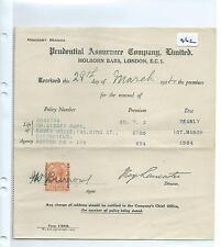 wbc. - EPHEMERA -462 - PRUDENTIAL ASSCE  LONDON - CORPORATE OVERPRINT - MAR 1924