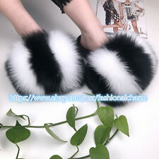 White/Black- Max Large XXL Real Fox Fur Slides Womens Slippers Sandals Shoes