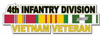 "4th Infantry Division Vietnam Veteran 5.5"" Window Sticker 'Officially Licensed'"