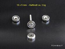 4x Neodym Topfmagnete 16x5mm 3kg Topfmagnet Flachtopfmagnet starke Loch Magnete
