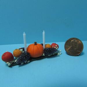 Dollhouse Miniature Fall Thanksgiving Pumpkin Centerpiece with Candles MUL4317