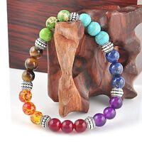 7 Chakra Healing Balance Prayer Beaded Bracelet Lava Yoga Reiki Stone Christmas*