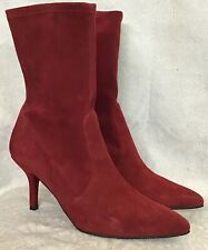 1ebc4b591d8a Stuart Weitzman Cranberry Red boot Suede Pointed Toe Pull On Stretch size 7