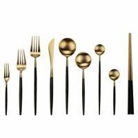 Black Gold Cutlery Set Stainless Steel Kitchen Dessert Dinner Fork Spoon Knife