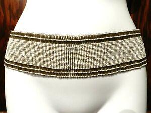 BEADED STRETCH BELT gunmetal off white continuous loop wide sash elastic boho 1C