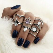 8-Piece Ring Set, Rhinestone, Lotus, Leaf Midi-Rings, Bohemian Boho Style