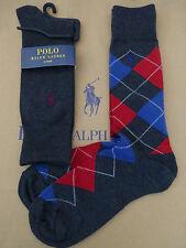 POLO RALPH LAUREN Luxury Sock Argyle Charcoal Rich Cotton 2p/pk Smart Socks BNIP