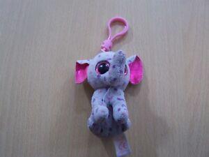 Specks - Elephant - TY Teenie Beanie Key Ring  - No ID tag, material tag on body