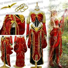 World of Warcraft WOW Blood Elf Priest Cosplay Costume Ears Skirt Necklace Dress