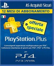 PLAYSTATION PLUS 12 MESI ABBONAMENTO ANNUALE PS4 PS3 PSVITA