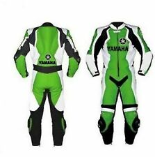 *YAMAHA GREEN Motorcycle Racing Leather Suit-MotoGp-CE Approved Protectors*