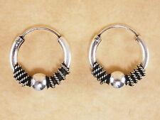 New Oxidized Genuine 925 Sterling Silver Byzantine Bali Hoop Earrings 16mm