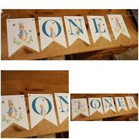 Personalised Peter Rabbit Bunting Party Birthday Christening Handmade One