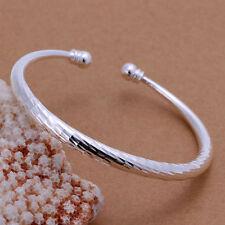 New Women Fashion Jewelry 925 Sterling Silver Plated Adjustable Cuff Bracelet