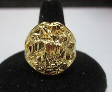 SIZE 10 14KT GOLD EP LARGE OVAL NUGGET BLING RING WAS $14.25