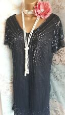 south black beaded lace deco 20s gatsby flapper peaky party evening dress 16 44