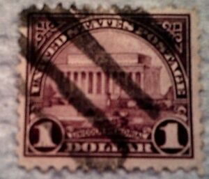 1923 U S Scott 571 Lincoln Memorial violet one used and cancelled $1 stamp off