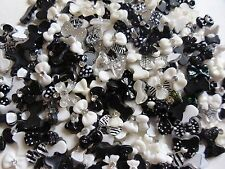 "50 pcs x 3D Nail Art ""BLACK's & WHITE's BOWS"" Mix Nail Accessory Craft Cabochon"