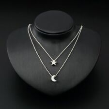 Women Pendant charm necklace moon star fashion boho silver chain plated double