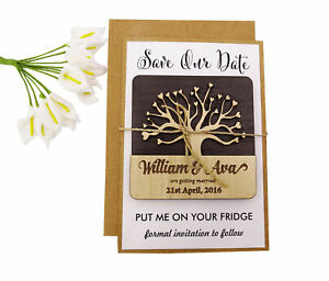 Save the Date Engraved Wooden Magnet Rustic Wedding Announcements Idea-MG76