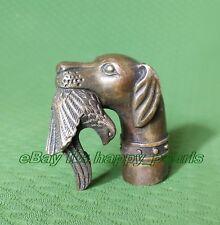 Antique Victorian Walking Stick with Bronze Gun Dog Head Holding Bird in mouth
