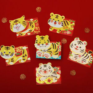 6pcs 2022 Chinese Lucky Red Envelope Tiger Year Red Envelope New Year Red Pac`