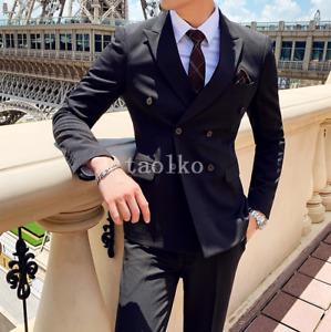 Double Breasted 3PCS Suits Jacket Vest Pants Blazer Business Wedding Men Tuxedos