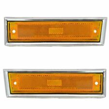 Side Chrome Bezel Marker Light Pair Set for Chevy Blazer GMC Jimmy C/K R Pickup