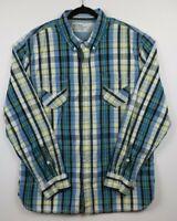 Levis Mens Size XXL Blue White Yellow Long Sleeve Button Down Plaid