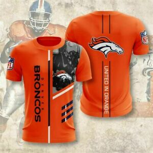 Denver Broncos Short Sleeve T-Shirt Summer Casual Shirt Tee Tops Workout Outfit