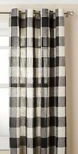 """Courtyard Plaid Woven Curtain Panel with Grommets, Black, 63"""" length, Lorraine"""