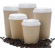 More details for insulated ripple hot drinks paper cups 25, 50, 100 or 500 coffee disposable lids