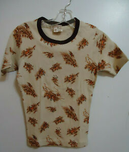 NOS VTG 70s RINGER T-SHIRT COTTON KNIT  TEEN M EQUESTRIAN STAG HUNTING