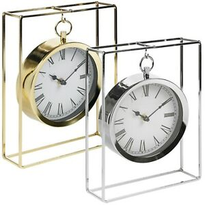 Vintage Table Mantelpiece Hanging Round Clock In Modern Chrome Frame Office Desk