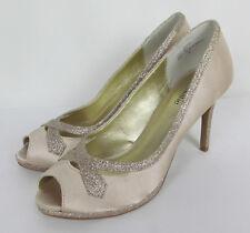 Kelly & Katie Pumps formal bridal fabric stiletto peep toe Gold Womens Size 8