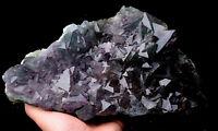 9.99lb NATURAL Purple Green  Octahedr FLUORITE Crystal Cluster Mineral Specimen