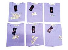 Damen Sommer T-Shirt, Kurzarm, in helle Lila mit schönen Blumen Design