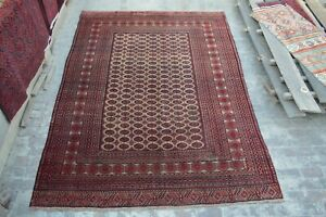 F813 Stunning Handmade Vintage Afghan Turkoman Mour Gull Hand Knotted Area Rug