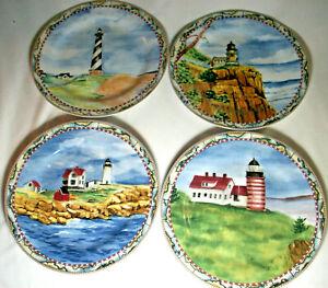 American Atelier: SIGNALS 5100: 4 Porcelain Salad Plates: Lighthouses: EXC: NR