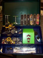 Tech Deck Skate Board , BMX , Scooter Lot Junk Yard With Carry Case.......Nice