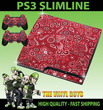 PLAYSTATION 3 SLIM PS3 SLIM RED PAISLEY PATTERN STICKER SKIN & 2 PAD SKINS