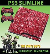 PLAYSTATION 3 SLIM PS3 SLIM RED PAISLEY PATTERN STICKER SKIN & 2 PAD SKINS