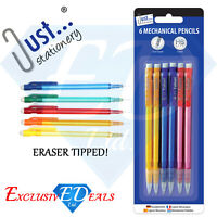 Pack of 6 Mechanical Pencils With Eraser Tipped HB Lead - HB 0.7mm Lead
