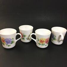 Corning (Corelle) Summer Blush Pansy Mugs/Cups - Set of 4