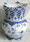 ROYAL COPENHAGEN RETICULATED BLUE AND WHITE VASE