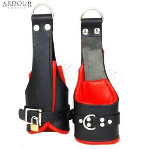100% Genuine Heavy Leather Padded Wrist Suspension Cuffs Lockable Hand Cuffs