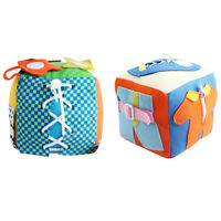 Montessori Learn to Dress Baby 6 Puzzle Cube Toy Zip Snap Button Buckle Lace